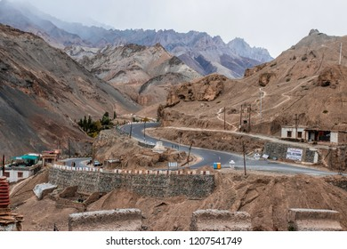 LEH LADAKH , INDIA - OCTOBER 9 : The landscape of the curving road along the Himalayas mountains in Leh Ladakh,India on October 09, 2018.