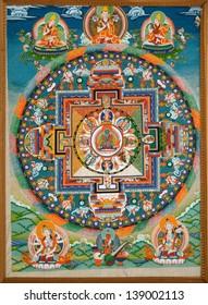 LEH, LADAKH, INDIA - SEPTEMBER 13, 2012:  Wheel of Dharma. Old buddhist fresco at the gate of tibetan monastery Thiksey Gompa, Leh, India. September 13, 2012.