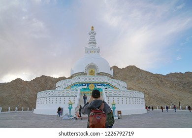 Leh Ladakh India - September 29 2018 - shanti stupa is a Buddhist white stupa on a hilltop in Chanspa mountain at Leh Ladakh , Jammu and Kashmir , India