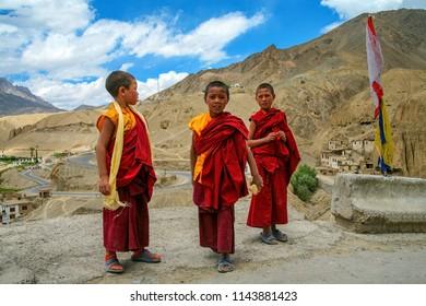 Leh Ladakh, Jammu and Kashmir, India. - July 11, 2011 : Unidentified tibetan boys, novice monks at Lamayuru monastery temple Buddhist school student.