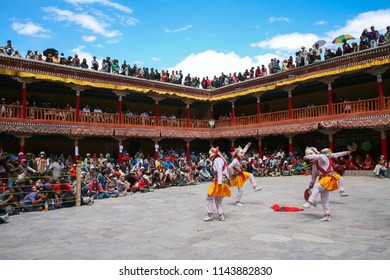 Leh Ladakh, Jammu and Kashmir, India. - July 10, 2011 : Buddhist mystery with the performance of Mask Dance in the Tibetan Hemis monastery.