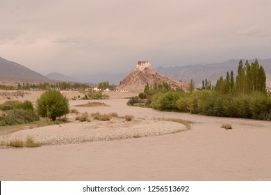 Leh, Ladakh, Jammu and Kashmir-Aug 16 2014: The Stakna is a buddhist Monastery or Gompa of the Drugpa sect and is perched on top of a hill on the bank of river Indus.