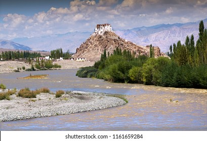 Leh, Ladakh, Jammu and Kashmir/India - August 26 2013: The Stakna Monastery at the hill top near the bend of Indus River popurlarly known as Sindhu river.