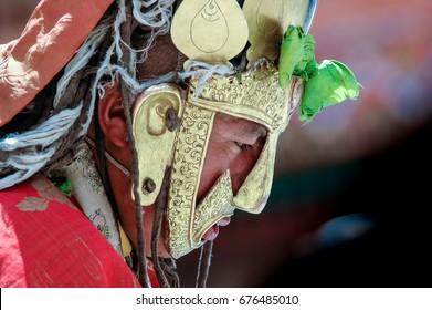Leh, Ladakh Region,India, Jun 17, 2005 : Portrait of Lama in Sacred Brass Mask of Dakini to Honor of Guru Rinpoche's (Padmasambhava) Birth Anniversary the Hemis Tse-chu Festival, Hemis Monastery.