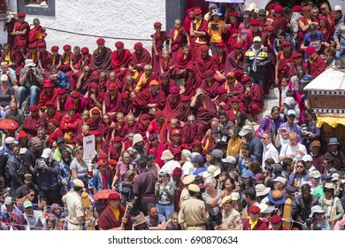 Leh Ladakh,India - July 3:The mask dancing performed by the Lamas in a Hemis festival in Hemis monastery on July 3, 2017 , Leh Ladakh , India.