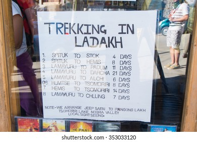 Leh Ladakh,India - July 8,2014 : Price trekking shop in Leh Ladakh,India.