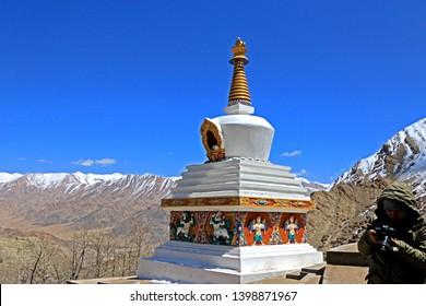 LEH LADAKH-INDIA-APRIL 11 : View of Nature & Architexture on the high mountain in Leh Ladakh, India, April 11, 2017, Leh Ladakh, India