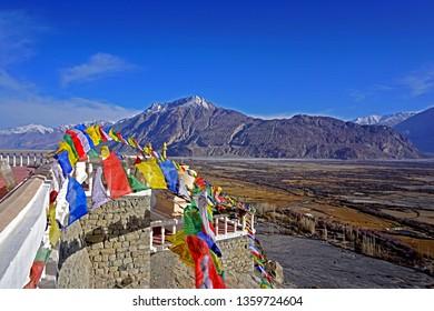 LEH LADAKH-INDIA-APRIL 13 : View of nature on the high mountain of Leh Ladakh on winter, April 13, 2017, Leh Ladakh, India