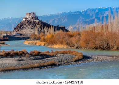 Leh, Ladakh/India-October 25,2018: Stakna Monastery or Stakna Gompa, Buddhist monastery, along the river in autumn with beautiful blue sky