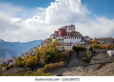Leh, Ladakp/India-October 25,2018: Thikse Gompa or Thikse Monastery is a gompa (Tibetan-style monastery). It is located on the hill during autumn with blue sky cloud