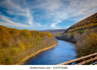 LeHigh River in the Moutains of Pennsylvania looking from a railway bridge to the city of Jim Thorpe
