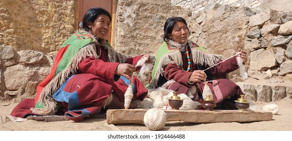 leh,ladakh - 21 February 2020 :-Changpa men and women both spin and weave, but focus on different fibres techniques. Men mostly spin and weave yak hair, whereas women spin and weave wool.