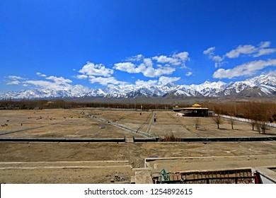 LEH-LADAKH-INDIA-APRIL 11 : View of nuture of Lah Ladakh on blue sky, April 11, 2017, Leh Ladakh, India