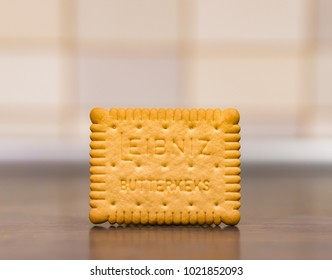 Leibniz butter biscuit with text in soft focus on circa February 2018 in Poznan, Poland