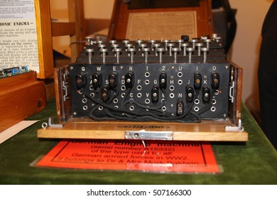 LEICESTER, ENGLAND - MARCH 23, 2014: World war two Enigma coding machine in wooden case as used by the German military in world war two.