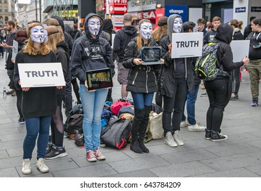 Leicester Square, London England May 20 2017 An Anonymous silent demonstration in Leicester Square protesting about animal cruelty