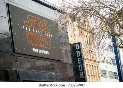 Leicester Square, London, UK. 23rd December, 2017. EDITORIAL - Large illuminated LED display outside the Odeon cinema in Leicester Square, London, advertising Star Wars - The Last Jedi is now showing.