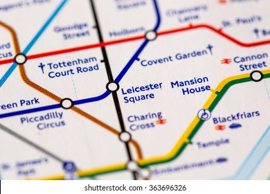 Leicester Square Station on a map of the Piccadilly metro line in London, UK.