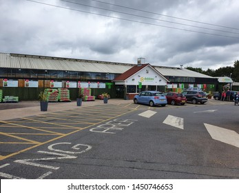 Leicester, UK, July 2019: Dobbies Garden Centre Leicester is one of 69 stores throughout the UK with the head office based in Edinburgh. Concessions:  Anglian Windows, The Works, Edinburgh Woolen Mill