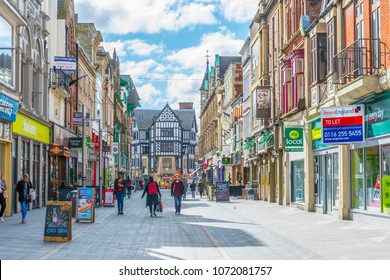 LEICESTER, UNITED KINGDOM, APRIL 10, 2017: People are walking on a street in Leicester, England