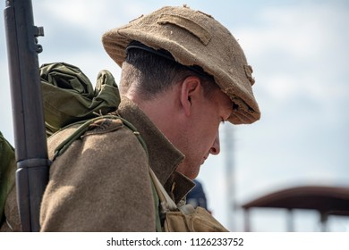LEICESTERSHIRE,UK  - JUNE 03 2018: Man dressed world war 2 british soldier during Victory Day Europe Celebration Event at Great Central Railway, Quorn