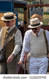 LEICESTERSHIRE,UK  - JUNE 03 2018: Men dressed in wartime clothing during Victory Day Europe Celebration Event at Great Central Railway, Quorn