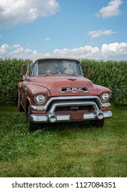 LEICESTERSHIRE,UK  - JUNE 03 2018: Vintage GMC pickup truck, rat look, circa 1958. GMC (General Motors Truck Company), is a division of the American automobile manufacturer General Motors (GM)