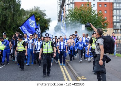 Leicester,UK September.27th  2016: FC Porto fans celebrate on Jubilee square  ahead of tonight fixture against Leicester city football club.