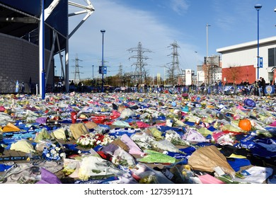Leicester,UK.November 02nd  2018: Floral Tributes,football shirts from clubs home and abroad with personal message for the victims of Saturday's helicopter crash at the King Power stadium.