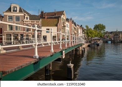 LEIDEN - 8 JULY, 2018: view of the city of Leiden, The Netherlands on 8 July, 2018. Leiden is a historic city and birthplace of the famous painter Rembrandt Van Rijn.