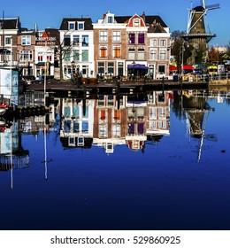 Leiden, Holland, December 05, 2016 Sunny day in Leiden harbour