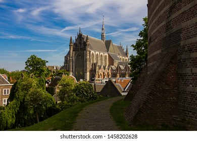 Leiden, Holland, Netherlands, May 22, 2019. The view of Hooglandse Kerk from the The Burcht van Leiden (Fort of Leiden), an old shell keep in Leiden constructed in the 11th century.