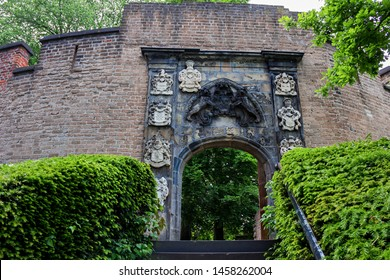 Leiden, Holland, Netherlands, May 22, 2019, The gate of the The Burcht van Leiden (Fort of Leiden), with coat of arms of noble families.