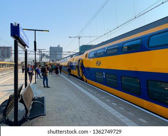 Leiden, Netherands, 08-04-2019: A train from the dutch company NS is waiting to Leiden central station.