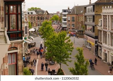 Leiden, Netherlands, 25-06-2018: A street in the centre of Leiden