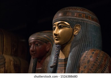 Leiden, The Netherlands - JAN 26, 2019: wooden sarcophagus of a pharaoh from ancient Egypt.