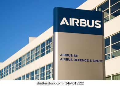 LEIDEN, THE NETHERLANDS - JULY 5, 2019: Airbus headquarters. Airbus is a European multinational aerospace corporation that designs, manufactures and sells civil and military aerospace products.