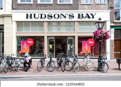 LEIDEN, THE NETHERLANDS - June 17, 2018: Hudson's Bay store. The Hudson's Bay Company is a Canadian retail business group.