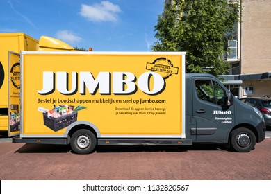 LEIDEN, NETHERLANDS - June 26, 2018: Jumbo delivery van. Jumbo is the second-largest supermarket chain in the Netherlands.