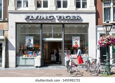 LEIDEN, THE NETHERLANDS - JUNE 27, 2019: Flying Tiger store. Flying Tiger Copenhagen is a Danish variety store chain and has nearly 1,000 stores worldwide.