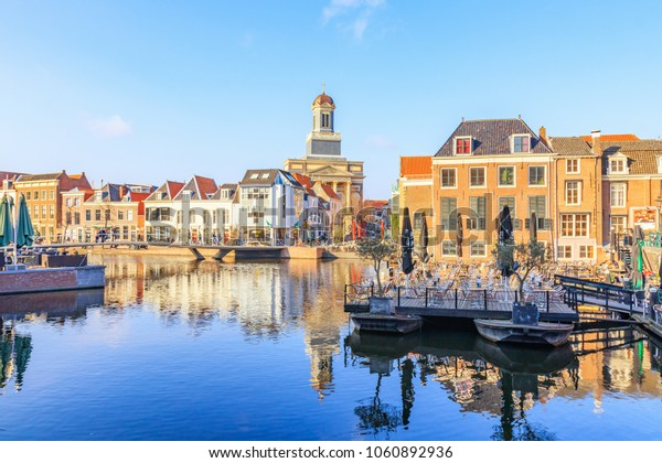 Leiden, Netherlands - March 26, 2018: View in the City of Leiden
