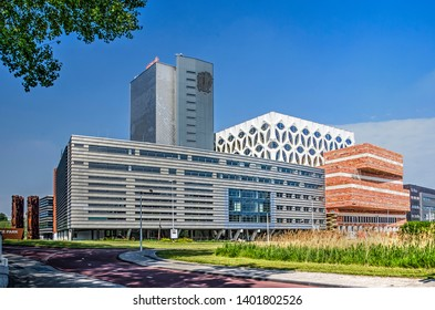 Leiden, The Netherlands, May 18, 2019: overview of the buildings of Naturalis biodiversity center and museum including recent extension as seen from the south east