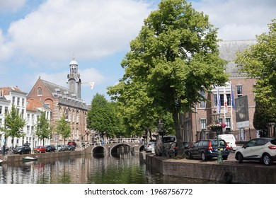 Leiden, The Netherlands - May 25, 2019; The monumental Academy Building on the Rapenburg is the center of Leiden University.