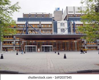 Leiden, Netherlands - May, 30, 2019: Exterior of LUMC hospital in Leiden.