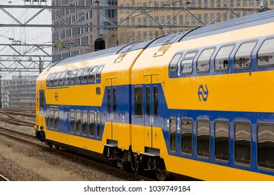 Leiden/Netherlands March 01 2018: A train from the company NS is leaving the train station