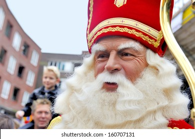 LEIDSCHENDAM, HOLLAND - NOVEMBER 13, 2010: Sinterklaas in close up while walking in the streets of Leidschendam the Netherlands. November 13, 2010 Leidschendam, Holland