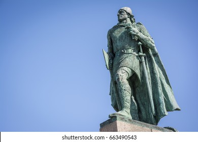 Leif Erikson statue in Reykjavik, Iceland. Ericsson was a Norse explorer from Iceland and the first known European to have discovered continental North America