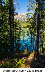 Leigh Lake Trail in Grand Teton Nat. Pk. in Wyoming, has numerous openings through the woods, where one can view spectacular scenery: peaks and beautiful azure reflections on the lake from the sky.