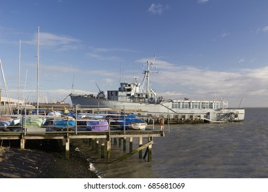 Leigh-on-Sea, Essex, England - 13/01/2017: The former Royal Navy minesweeper HMS Wilton (now the clubhouse of the Essex Yacht Club)