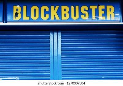 Leighton Buzzard, Bedfordshire / UK - December 27, 2018: Closed down Blockbuster Video in Leighton Buzzard.